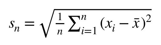sn=1ni=1n(xi-x)2