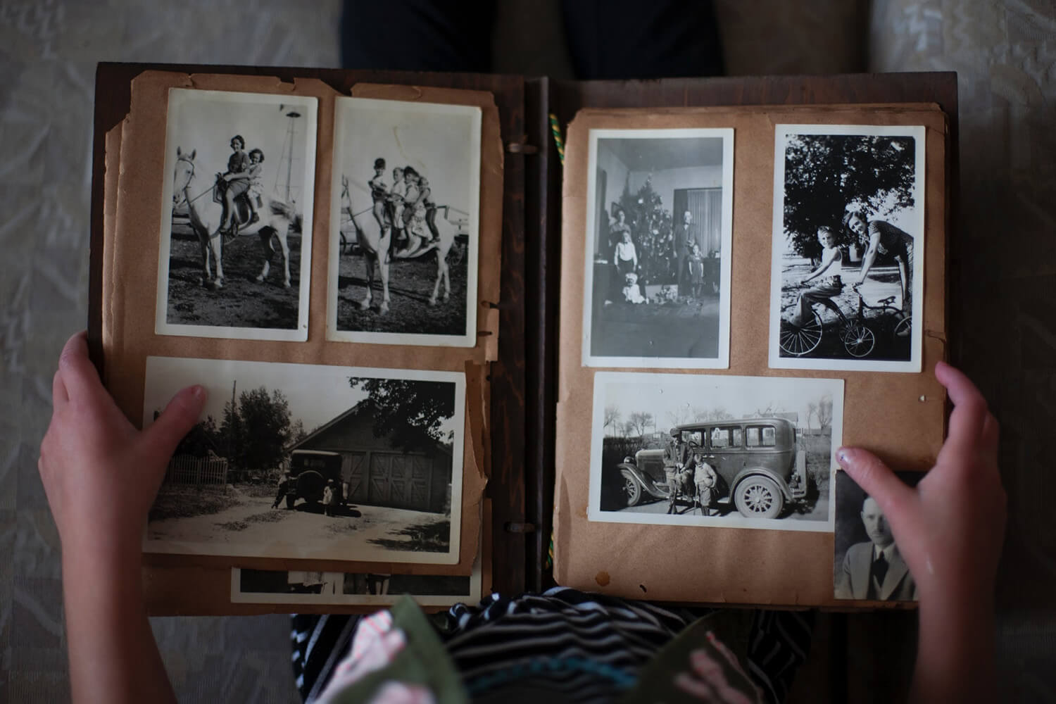Photo album with old black and white photos