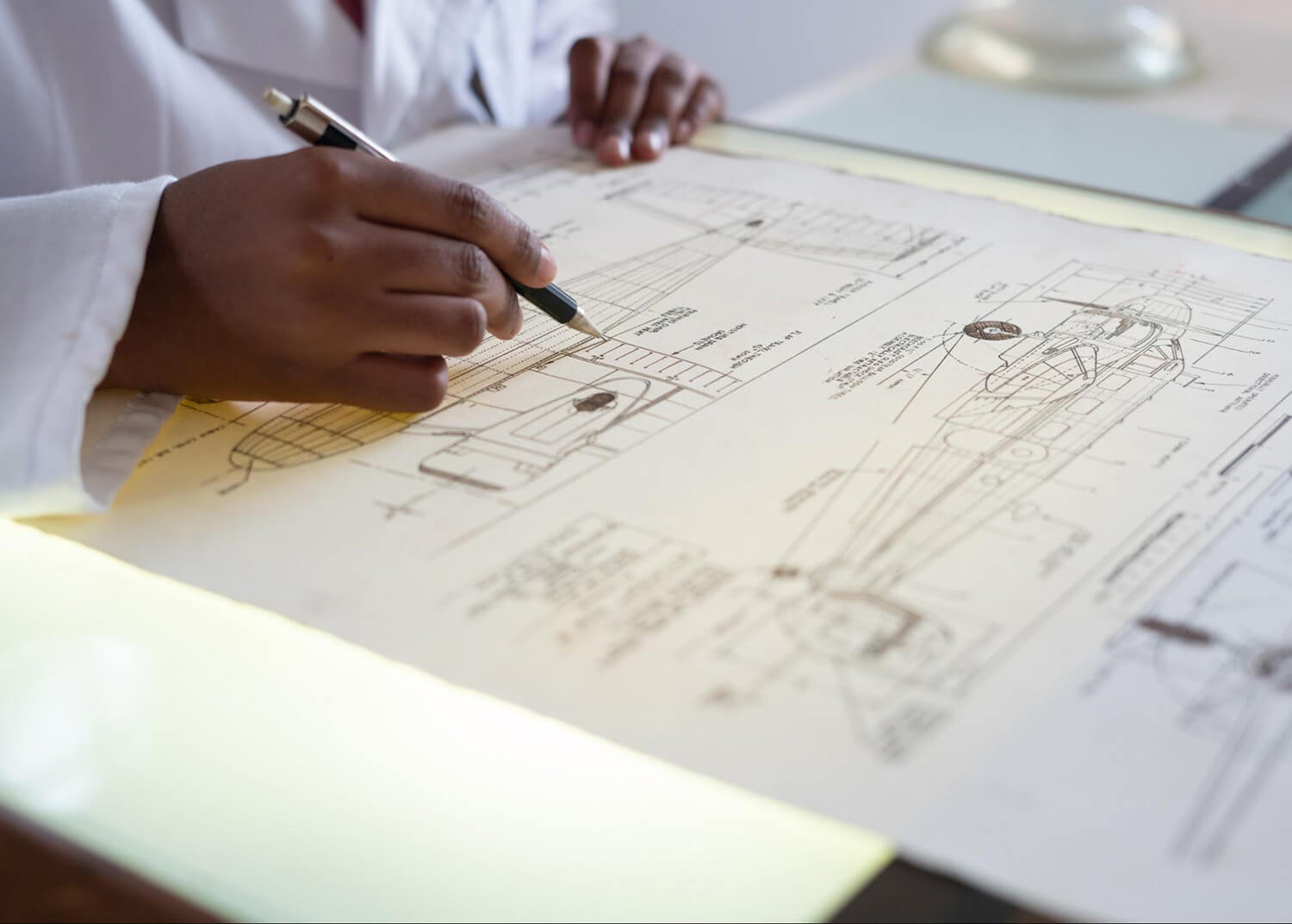 Student working on a diagram